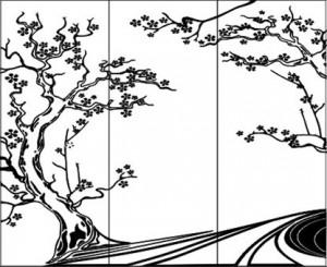 Вариант рисунка на стеклянных или зеркальных дверях шкафа-купе «Сакура», #25874
