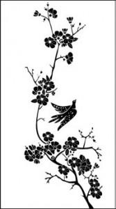 Рисунок на стекел «Цветы и птица», #26408